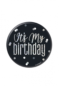 Black Glitz Birthday Badge