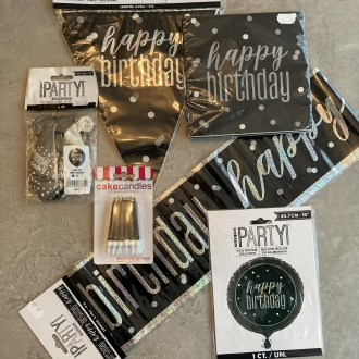 Black Glitz Birthday Pack